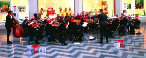 Orchestra performing in Victoria Gate at Christmas