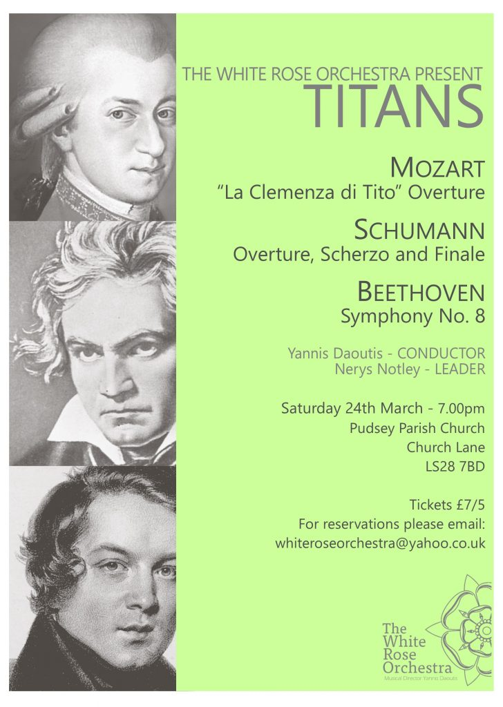 Concert poster Titans, Beethoven, Mozart and Schumann
